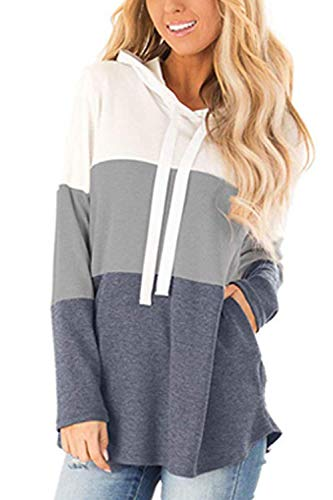 Sevozimda Women Striped Hoodies Color Block Long Sleeve Sweatshirt Drawstring Jumper with Pockets Gray L