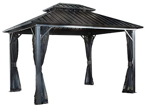 Sojag 12' x 16' Genova Double Roof Hardtop Gazebo 4-Season Outdoor Sun Shelter with Mosquito Net, Black,Brown