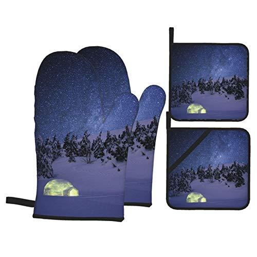 Juego de 4 Guantes y Porta ollas para Horno Resistentes al Calor Noche Wonderland Invierno Igloo Snow Abeto para Hornear en la Cocina,microondas,Barbacoa