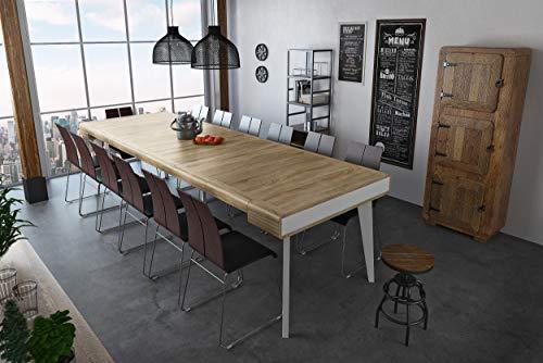 Home Innovation - Table Console salle à manger, extensible, rectangulaire, front arrondi, avec rallonges Nordic Curve jusqu'à 300 cm, finition blanc mat, chêne brossé. Style Scandinave. Jusqu´à 14p