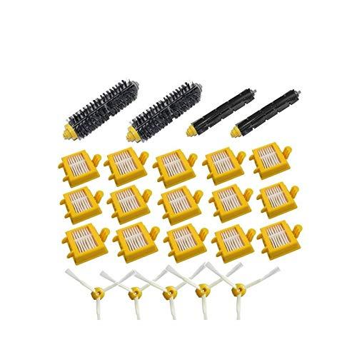 L-Yune, 24x filtros HEPA Cepillo de cerdas Flexibles batidor de 3 cepillos Laterales Armadas Kits de Accesorios for Roomba Serie 700 760 770 780 790