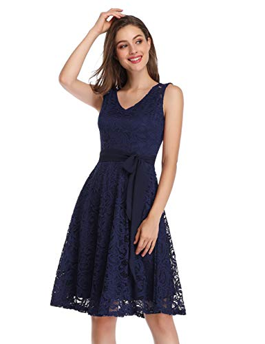 KOJOOIN Damen Kleid Brautjungfernkleid Knielang Spitzenkleid Ärmellos Cocktailkleid Dunkelblau Navyblau M