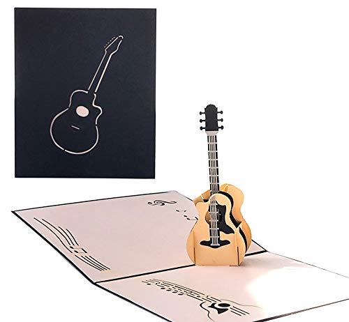 DEESOSPRO® 3D Pop Up [Geburtstagskarte] [Grußkarte] [Jubiläumskarte] [Abschlusskarte] mit Kreativem Papierschnittmuster, Geschenk für Geburtstag, Abschlussfeier, Weihnachten, Kindertag (Gitarre)