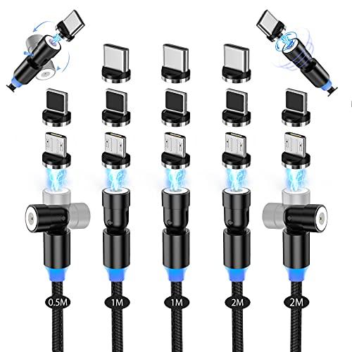 AKBKTII マグネット 充電ケーブル 3-in-1 【5本セット/0.5M+1M+1M+2M+2M】急速充電 360度+180度回転 磁石 磁気 マイクロUSB Type-C マグネット ケーブル 防塵 着脱式 コネクタ タイプ/Android/Type-C/Micro USB対応-BK(NTZD-5)