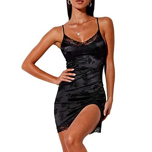 Damen Sexy Lace Blumen Kleid Y2K Spaghetti Träger Durchschauen Split Minikleid E-Girl Süße Kleidung (Split Velour Black, S)
