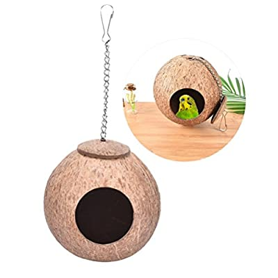 Natural Coconut Shell Bird Nest House Bed for Pet Parrot Budgie Parakeet Cockatiel Conure Canary Finch Dove Cage Hamster Rat Gerbil Mice Cage Feeder Toy from Keersi