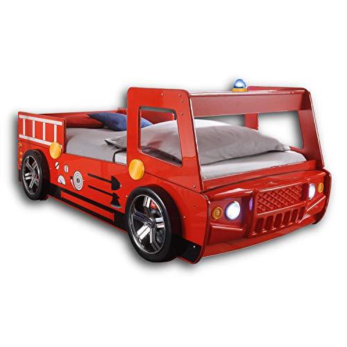 SPARK Feuerwehrbett mit LED-Beleuchtung 90 x 200 cm - Aufregendes Auto Kinderbett für kleine Feuerwehrmänner in rot - 108 x 91 x 225 cm (B/H/T)