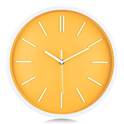 Lafocuse Reloj de Pared Amarillo Limón Moderno Minimalista 30 cm Reloj de...