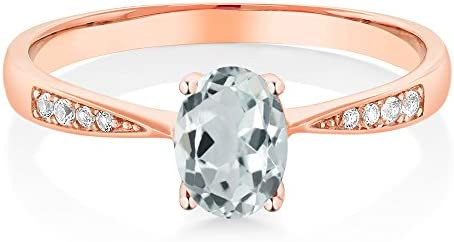 Gem Stone King 10K Rose Gold Oval Sky Blue Aquamarine and Diamond Women s Ring 0 78 Ctw Size product image