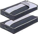 Bolsa de Almacenamiento de Ropa, 2 Pcs Cajas Almacenaje 90L Gran CapacidadCajas Almacenaje Ropa Plegable Caja Almacenaje Gris, Organizador de Transpirable con Cremallera Robusta, para Edredón Manta