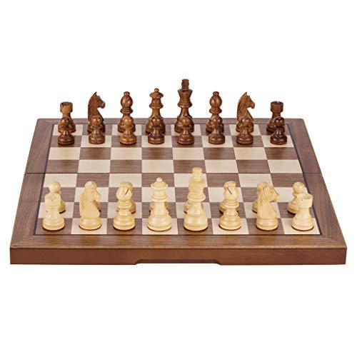 YCX Ajedrez Plegable Ajedrez Ajedrez de Madera Portátil. Las Piezas de ajedrez están Hechas de Gardenia de Hoja Ancha/Palo de Rosa Indio, 40x40 cm / 33x33 cm, Juego de ajedrez de Madera Hecho a Mano