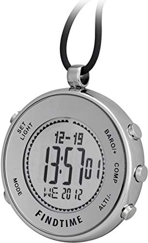 Pocket Clip Watches Silver Digital Sports Hiking Altimeter Barometer Compass