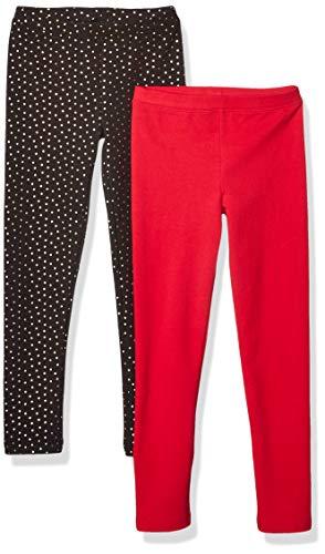 Amazon-Marke: Spotted Zebra Gemütliche Mädchen Leggings, 2er-Pack, Black Sparkle/Red, Small (6-7)