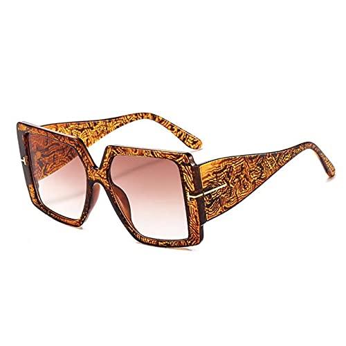 JINZUN Gafas de Sol con Montura de plástico a la Moda Gafas de Sol Retro a la Moda Gafas de Sol con sombrilla Anti-Ultravioleta Marco con motas de té Piezas de té