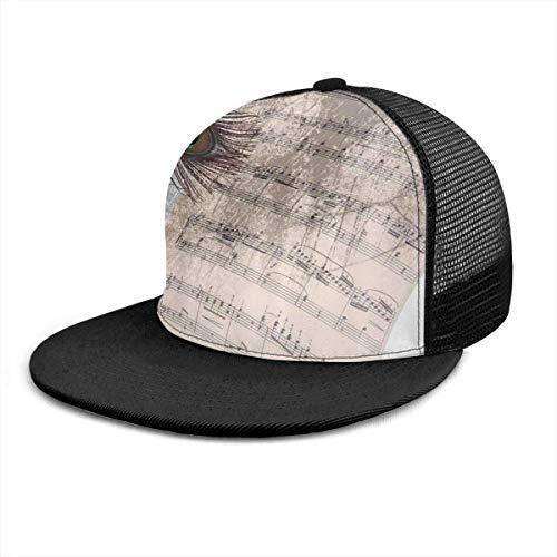 Dad Hat Notas De Música Antigua Pluma De Pavo Real Sombrero De...