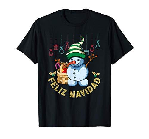 Regalo Para Niños Feliz Navidad Papá Noel Muñeco De Nieve Camiseta