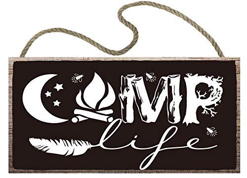 vizuzi Camping Camp Camper Wood Sign,12 x 6,Wood Plank Hanging Plaque Wall Art Decoration Hunting Camper Room