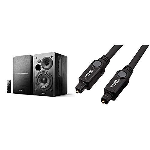 Aktivboxen Edifier Studio R1280DB 2.0 schwarz Bluetooth Retail & AmazonBasics Toslink Optisches Digital-Audiokabel, 3m