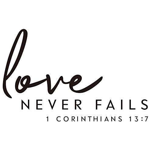 ZSSZ Wandaufkleber mit englischsprachiger Aufschrift Love Never Fails 1 Corinthians, englische Aufschrift