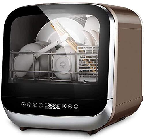 ZIJIAGE Geschirrspüler Compact Aufsatz-, mit abnehmbarem Wassertank, mit Edelstahl-Interieur und 6 Gedecke Rack Apartment Office Home Küche, Weiß,110 Volts