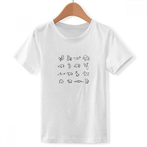 DIYthinker Resumen de los Animales de Origami Forma geométrica tripulación Cuello Camiseta para Chico Medio