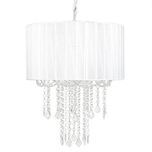Tadpoles 1-Bulb Shaded Chandelier in White
