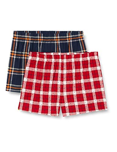 Marca Amazon - Iris & Lilly Pantalones de Pijama Mujer, Pack de 2, Multicolor (Azul/Red Spot)., L, Label: L