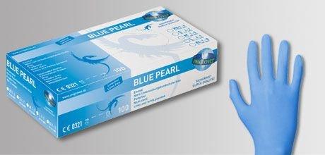 Nitril-Handschuhe blau puderfrei BLUE PEARL von UNIGLOVES - 100 Stck. Größe • Gr. M