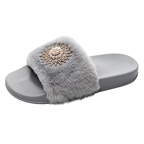 Zapatos informales de plataforma cómodos, para mujer, para el hogar, de felpa, transpirables, para la playa, vacaciones, gris, 37 EU