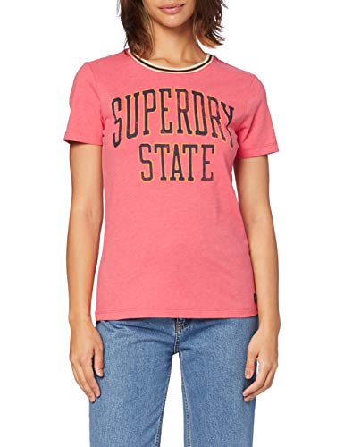 Superdry State Ringer Entry tee Camiseta, Naranja (Coral Over Dyed Marl 0zv), M (Talla del Fabricante:12) para Mujer