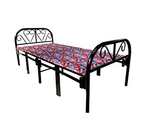 Sahni Portable furniture Single Folding Iron/Steel Bed with Mattress Red Color (188 cm x 91cm, Official Manufacturer)