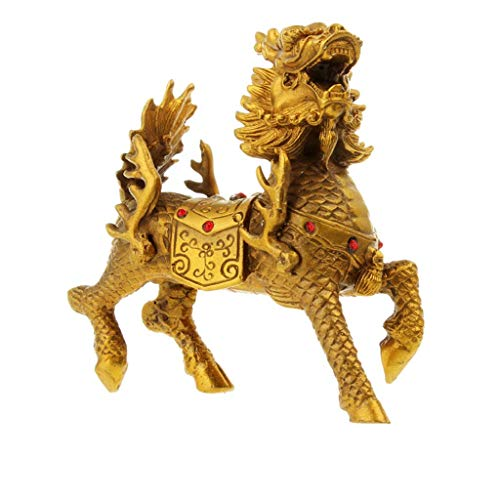 DCLINA Estatuas Feng Shui Esculturas latón Dorado Chi Lin/Qilin/Kilin, para decoración del hogar y la Oficina Las Figuras atraen la Riqueza y la Buena Suerte Decoración Regalo Dos tamaños
