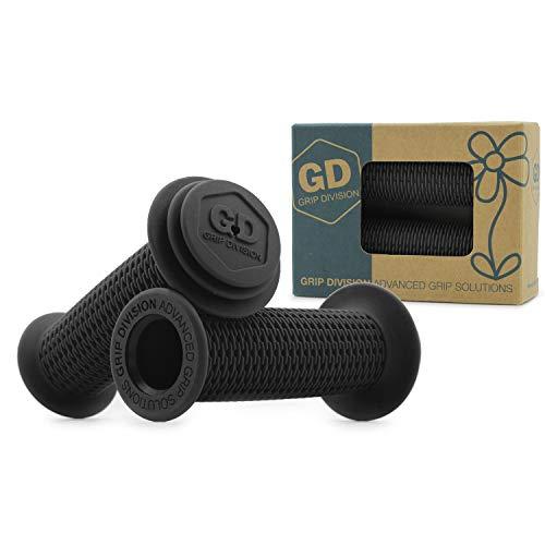 GD Grip Division ® Kinderfahrradgriffe mit Sicherheits Prallschutz und Durchschlagschutz, schadstofffrei, für 22.2 mm Lenker, schwarz