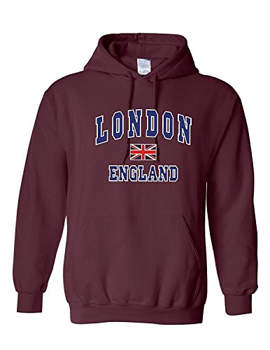 London England - Sudadera con capucha estampada (talla M, castaño), color marrón