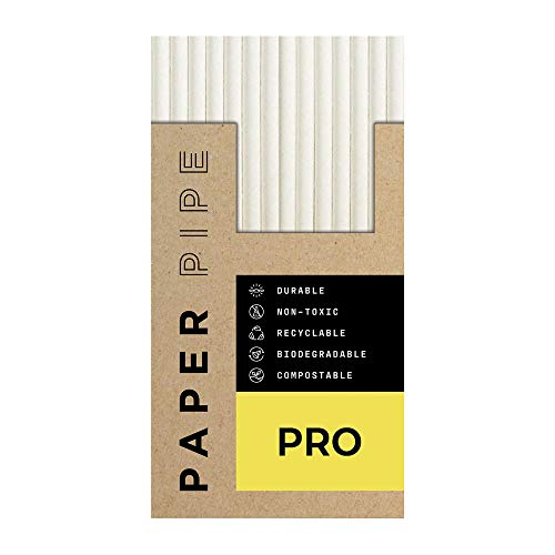 Paper Pipe [Pro] Paper Straws [175 pack] 8mm Luxury Disposable Drinking Straw, Eco Friendly Quality White Disposable Drinking Straws for Drinking Juice, Shake, Iced Tea, Cocktail, and Drinks. Safe for Kids