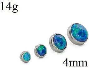 Painful Pleasures 14g - 12g Internally Threaded Titanium 4mm Flat Opal Top - Price Per 1