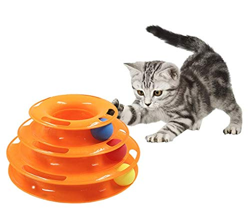 LANDL 【鈴ボール×3個追加】 猫 おもちゃ 遊び 回転 ボール 鈴 入り 運動不足 ストレス 解消 ペット用品 猫じゃらし ねこ ネコ (オレンジ)