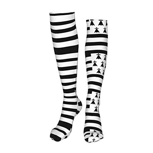Vilico Lässige kniehohe Strümpfe, Overkneesocken, lange Socken, Gwenn Ha Du Bretagne, Bretonische Flagge, Unisex, Sport für Männer und Frauen