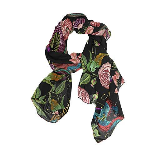 Pañuelo cuadrado estampado para mujeres Niñas Señoras Favor Caballo Dragón Cabeza de flor Envolturas 90x180 CM Bufanda ligera de chal
