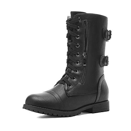 DREAM PAIRS Women's Terran Snow Black Faux Fur Lined Mid Calf Riding Combat Boots Size 9.5 M US