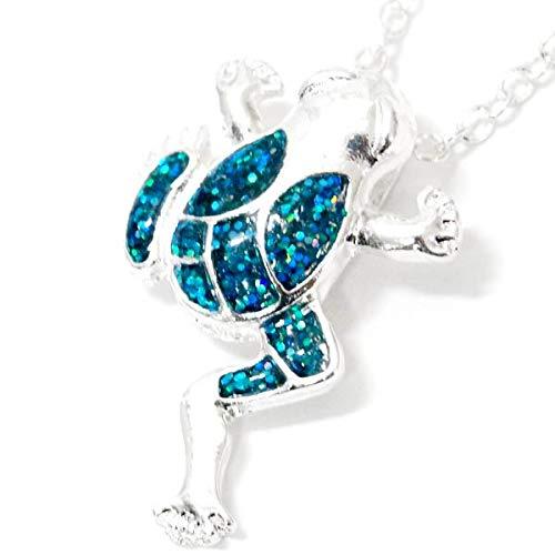 カエルモチーフ よじ登る蛙デザイン ブルー ラメ メンズ レディース ペンダント ネックレス