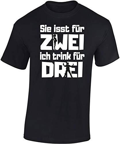 T-Shirt: Sie isst für Zwei, ich Trink für DREI - Vater Werden - Schwangerschaft - Geburt - Papa - Geschenk für Männer - Shirt Mann - Alkohol - Kind-er - Tochter Sohn - Fun - Witzig - Dad (M)