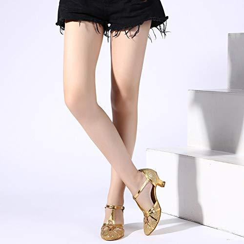 YKXLM Damen & Mädchen Ausgestelltes Tanzschuhe/Standard Ballsaal Latein Dance Schuhe,DE511-5,Gold,EU 39 - 3