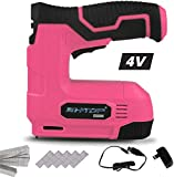 BHTOP Cordless Staple Gun, 4V Power Brad Nailer/Staple Nailer,Electric Staple with Rechargeable USB Charger, Staples and Brad Nails Included In Pink (Include 1500pcs Staples and 1500pcs Nails)