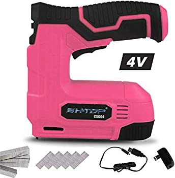 BHTOP Cordless Staple Gun 4V Power Brad Nailer/Staple Nailer,Electric Staple with Rechargeable USB Charger Staples and Brad Nails Included In Pink  Include 1500pcs Staples and 1500pcs Nails