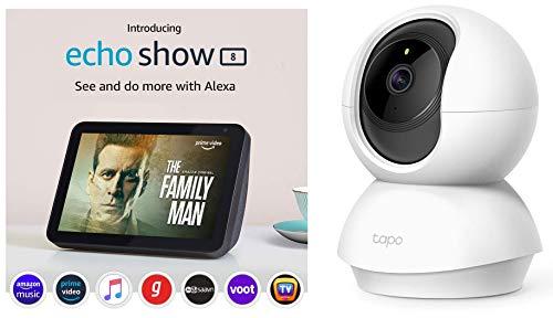 Echo Show 8 (Black) bundle with TP-Link indoor security camera