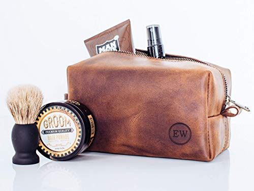 Personalized Leather Dopp Kit, Men's Toiletry Bag, Anniversary Gift Travel Bag