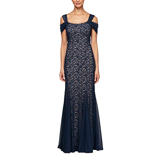 Alex Evenings Women's Long Cold Shoulder Dress (Petite and Regular Sizes), Navy/Nude Lace, 8
