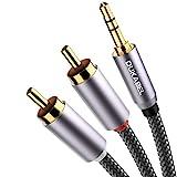 DuKabel 3.5mm jack a RCA cable 2 chinch plug a jack 3.5mm jack (3 polos, estéreo) Rojo Blanco Aux cable 3.5 a RCA cable de audio con 99.99% 4N-OFC y 3 blindaje - Top Series 2.4m