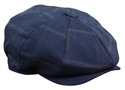 Casquette homme 8 parts style Newsboy Peaky Blinders avec carreaux tweed